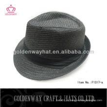 Дешевая бумажная солома Black fedora hat со складной лентой