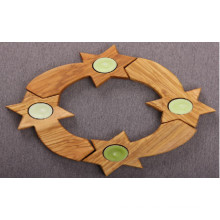 Juego de 4 coronas de candelabro de madera de olivo