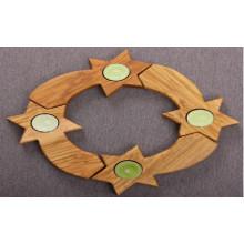 Olive Wood Candle Holder Wreath Set Of 4