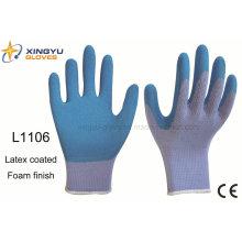 Высокой ранга 10g полиэстер оболочки латексной пены покрытием безопасности работы перчатки (L1106)