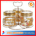Glass Canister Gold-Plated Metal Frame