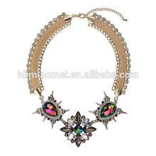 2018 élégant perles colorées déclaration acrylique pompon bohème collier