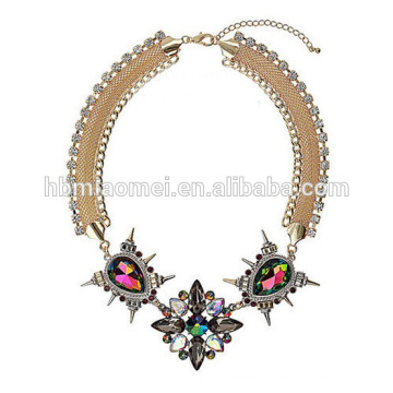 2018 elegant colorful beads acrylic statement tassel bohemian necklace