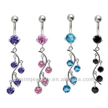 Stainless Steel Navel Ring Vine Dangle With CZ BER-009