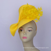 New Yellow Big saucer fascinator For Church Derby Ascot Royal Wedding Tea Party hat w/feather Mother
