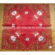 Pano de mesa da cor vermelha do bordado da vela do Xmas 938