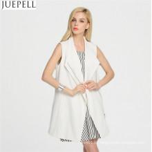 Simples e Elegante Estilo Europeu Mulheres Longa Seção de Outono de Malha e Tecido Collar Longo Colete Casaco