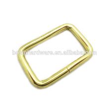 Moda de alta qualidade de metal latão anel retangular chapeado