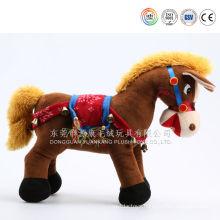 Plush horse with saddle and rein& white plush toy horse