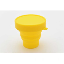 SILICONE COLLAPSIBLE CUP W/LID, SILICONE TELESCOPIC CUP W/LID