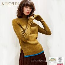 Camisolas de Inverno para Jovens Mulheres, Algodão de Lã com Camisola Misturada de Fiado Metálico, camisolas de inverno de pescoço alto