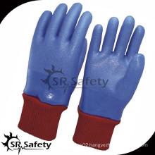 SRSAFETY Blue knit wrist pvc coated glove