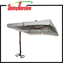 4*4M Wooden Cantilever 240G Polyester Parasol with open in the middle and 18-20cm Flap and different base