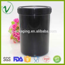 Récipient de stockage HDPE vide rond 1L bouteille en poudre en plastique en poudre avec couvercle