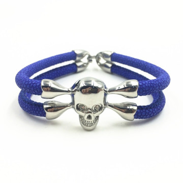 Perak Skull Head Charm Mens Stingray Kulit Gelang