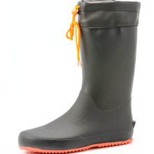 Men's  transplanting rubber rain boots with orange sole