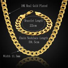 Золото покрытием 316L нержавеющая сталь ссылка цепь стильный ожерелье и браслет набор мужчин Ювелирные наборы