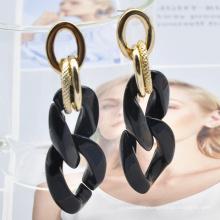 2021 retro acrylic flat cuban link women classic gold chain africa earrings