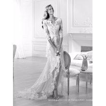 3/4 de renda de manga um vestido de noiva de linha frontal vestido de noiva de fenda