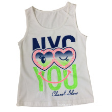 Beautiful Girl Vest in Children Girl T-Shirt with Lovely Eyes (SV-022)