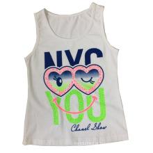 Menina bonita colete em crianças menina t-shirt com olhos encantadores (sv-022)
