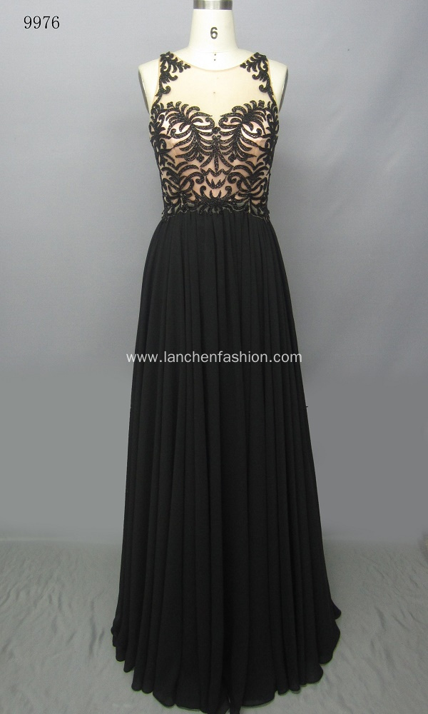 Stylish Round Neck Chiffon Shimmering Evening Dress