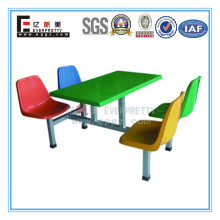 Wood & Fiberglass Dining Table and Chair Cheap Restaurant Equipment for Sale Fast Food Table Chair