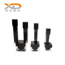 Black matte 15ml 30ml 50ml 100ml 120ml square plastic cosmetic container acrylic packaging pump lotion bottle