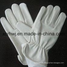 10''cowhide Split Leather Truck Driver Gloves, Gant de mouton en cuir, gant de peau de chèvre / gant de mouton en cuir, cuir de chèvre Gants de soudure TIG sans doublure