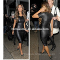 Sexy Women Mini Dress Imitation Leather Splice Semi-sheer Hollow Out Sleeveless Split Bodycon Dress Black