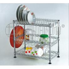 3 gradas cromo alambre metálico plato de cocina titular rack con patentes