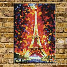 Pintura al óleo del cuchillo de la paleta de París Torre Eiffel