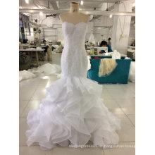 Aoliweiya Nagelneues reales Hochzeits-Kleid mit Rüsche-Rock