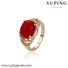 14754 xuping joyería personalizada signet elegante estilo 18k anillo de color dorado para las mujeres