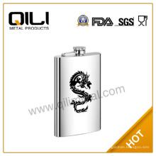 6 унций трафаретной печати дракона логотип QILI нержавеющей стали мини-Фляга