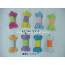Dog toy with colorful bone shape