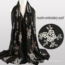 2017 Best-selling plain african muslim flower embroidery designs jersey hijab cotton muslim scarfs Arab hijab scarf shawl