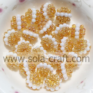 Wholesale Fashion Yellow Color Acrylic Crystal Sandwich Berry Beads 10MM