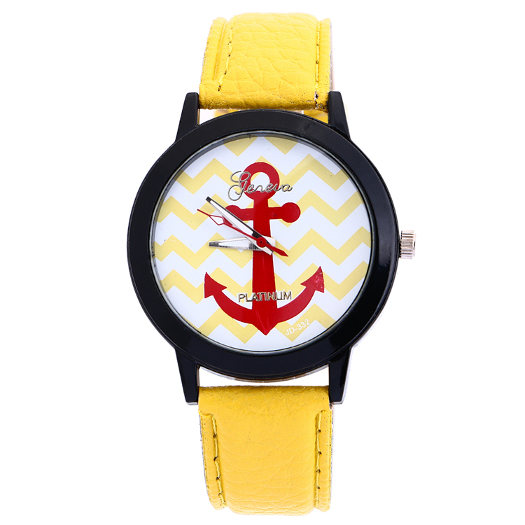 Hot Sale Students Anchor Sport Leather Wrist Watch