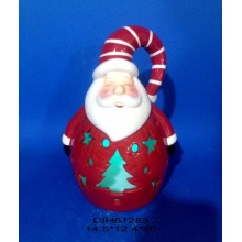 Color-Changing LED Lighted Ceramic Santa Claus