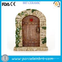Porta de fada para jardim de resina com flor decorativa