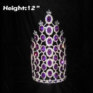 Coronas de concurso de diamantes de imitación de diamante púrpura de 12 pulgadas