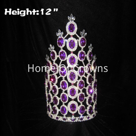 12inch Purple Diamond Rhinestone Pageant Crowns
