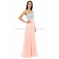 Vestido de noche largo al por mayor del color del hombro del color rosa del hombro de la gasa con el cordón azul