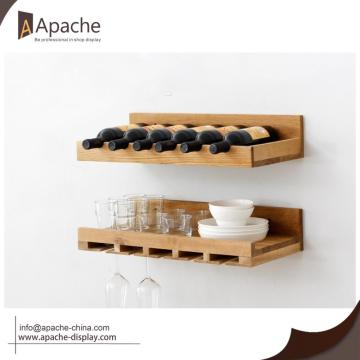 Wooden Wall-mounted Wine Storage Shelf Bottle Holder