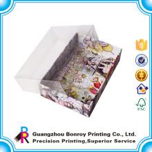 Caja vacía de alta calidad del chocolate del cartón de encargo con la tapa clara