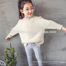 Camisola de lã de lã de lã de lã de pescoço alto para crianças