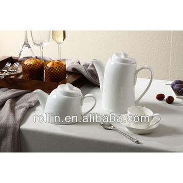2014 elegant design white fine porcelain slanting coffee pot, tea pot