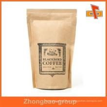 Proveedor de Guangzhou sello de calor a prueba de humedad de impresión de huecograbado personalizable stand up bolsos de papel kraft marrón con cremallera