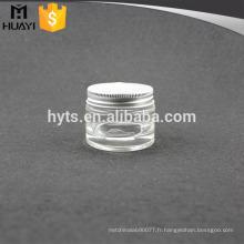 Pot cosmétique en verre de haute qualité de 15ml avec le chapeau en aluminium pour la crème